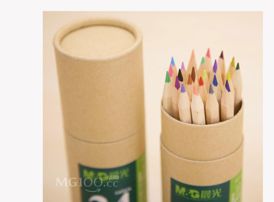 晨光awp34304牛皮纸包装24色筒装原木木质彩色铅笔